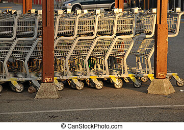 grocery carts - row of grocery carts