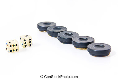 Backgammon dice and pieces isolated on white