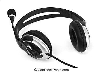 blanco, auriculares, negro, aislado