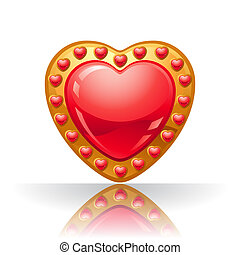 Glossy big red jewelry heart vector illustration.