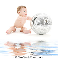 adorable baby boy with big disco ball - picture of adorable...