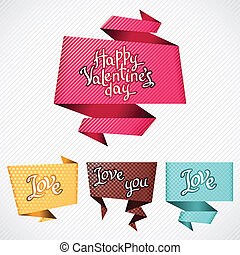 Valentines Day vector background Origami speech bubble