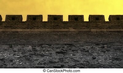 Ancient city Great Wall Battlements.Weathering of masonry.
