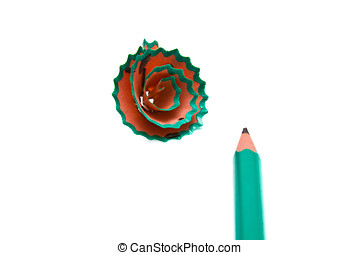 pencil and shavings  - The image of pencil and shavings