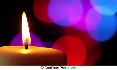 Candle and Colored Lights - Loop with white pillar candle...