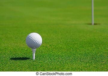 golf, Pelota, curso, agujero, golf, verde