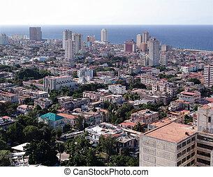 havana cuba - Top view of the city and sea shore in Havana,...