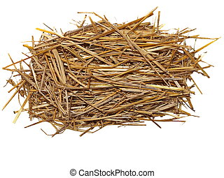 pile straw isolated on white, with clipping path