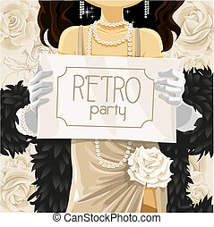 Retro party poster in hands of beautiful woman