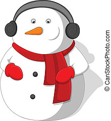 Cartoon Snowman Christmas Vector