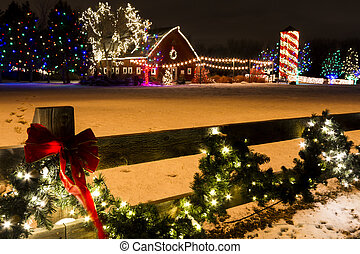 Christmas Lights - Historic farm decorated with Christmas...