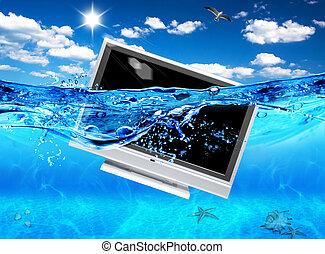 desenho, tv, mar, ecológico, eletrônica