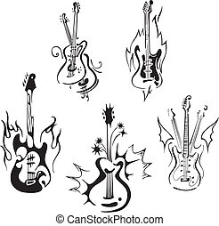 stylized guitars - Stylized guitars Set of black and white...