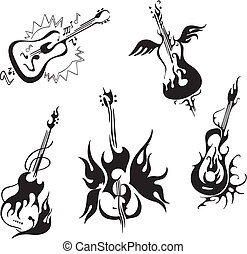 stylized guitars - Stylized guitars. Set of black and white...