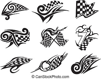 Set of racing tattoos with checkered flags. Black and white...