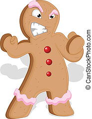 Angry Gingerbread Man Vector - Creative Abstract Conceptual...