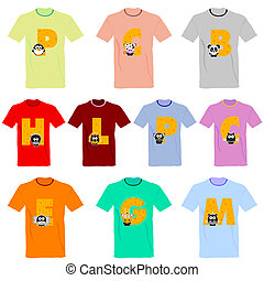 T-shirts with pictures of animals and words on it vector...