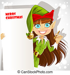 elf with a banner - Cute girl the Christmas elf with a...