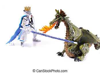 Dragon Trainer Knight - Dragon and a knight on white...