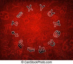 Zodiac circle with zodiac signs on the red grunge background