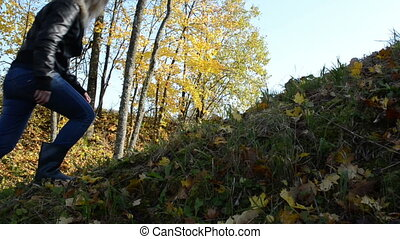 autumn color trees hill - Girl climb walk on hill and autumn...