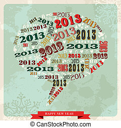 Vintage Happy New year 2013 social media bubble - Vintage...