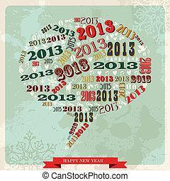 Vintage Happy New year 2013 social media bubble - Vintage...