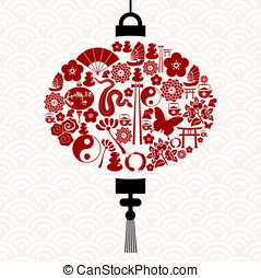 Chinese New Year of the Snake icon set lamp composition...