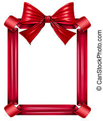Red Ribbon And Bow Frame - Red silk ribbon and bow as a...