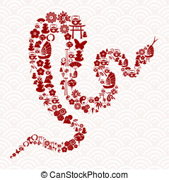 Chinese New Year of the Snake icon set composition...