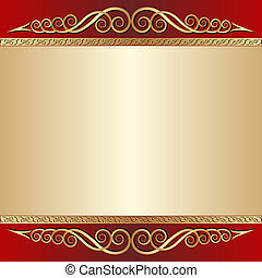 red and gold background with ornaments