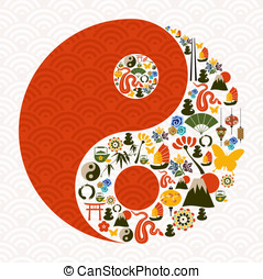 Chinese New Year of the Snake yin yang symbol composition...