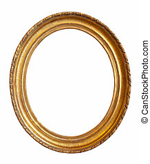 oval gold picture frame - oval gold picture frame. Isolated...