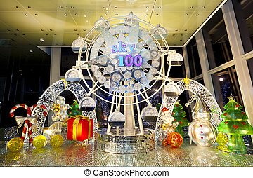Ferris wheel at Christmas in Hong Kong - HONG KONG -...