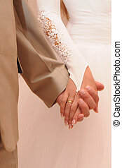 coppia, matrimonio, presa a terra, mani
