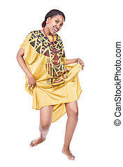 African dancer - Beautiful young African woman with braids...
