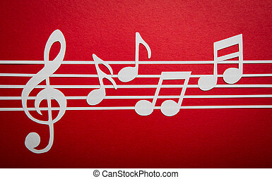 Paper cut of music note on staves with copy space for text...