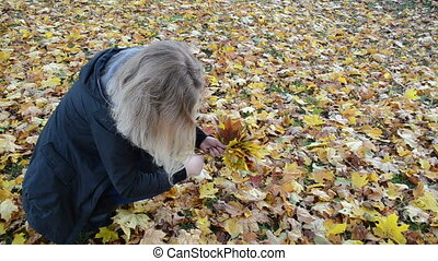 woman pick maple leaf - Woman hand pick up gather colorful...