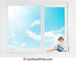 ventana, sol, cielo, niño, lectura, libro