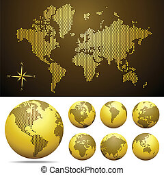 Vector dotted Map and Globe