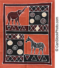 Tribal painting - African motifs painted on textile, from...