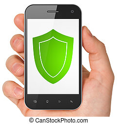 Hand holding smartphone with shield on display. Generic...