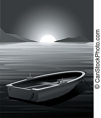 Vector Rowing Boat - Sunset - Dark Scene only gradient used,...
