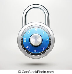Combination pad lock - illustration of security concept with...