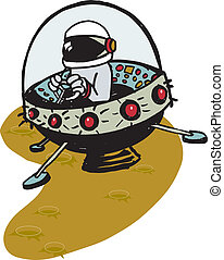 Flying Saucer - Cartoon of flying saucer