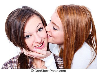 Kiss for my best friend - Young girl kissing her girfriends...