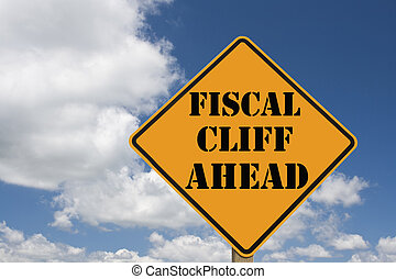 fiscal cliff sign - fiscal cliff roadsign with clipping path...