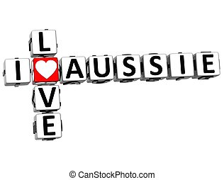 3D I Love Aussie Crossword on white background