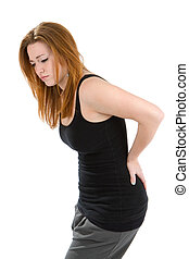 Woman Pain Back - Woman with a pain in her back bends over...