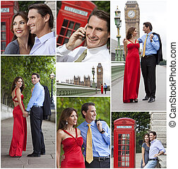 Montage of Romantic Couple in London England - Montage of...